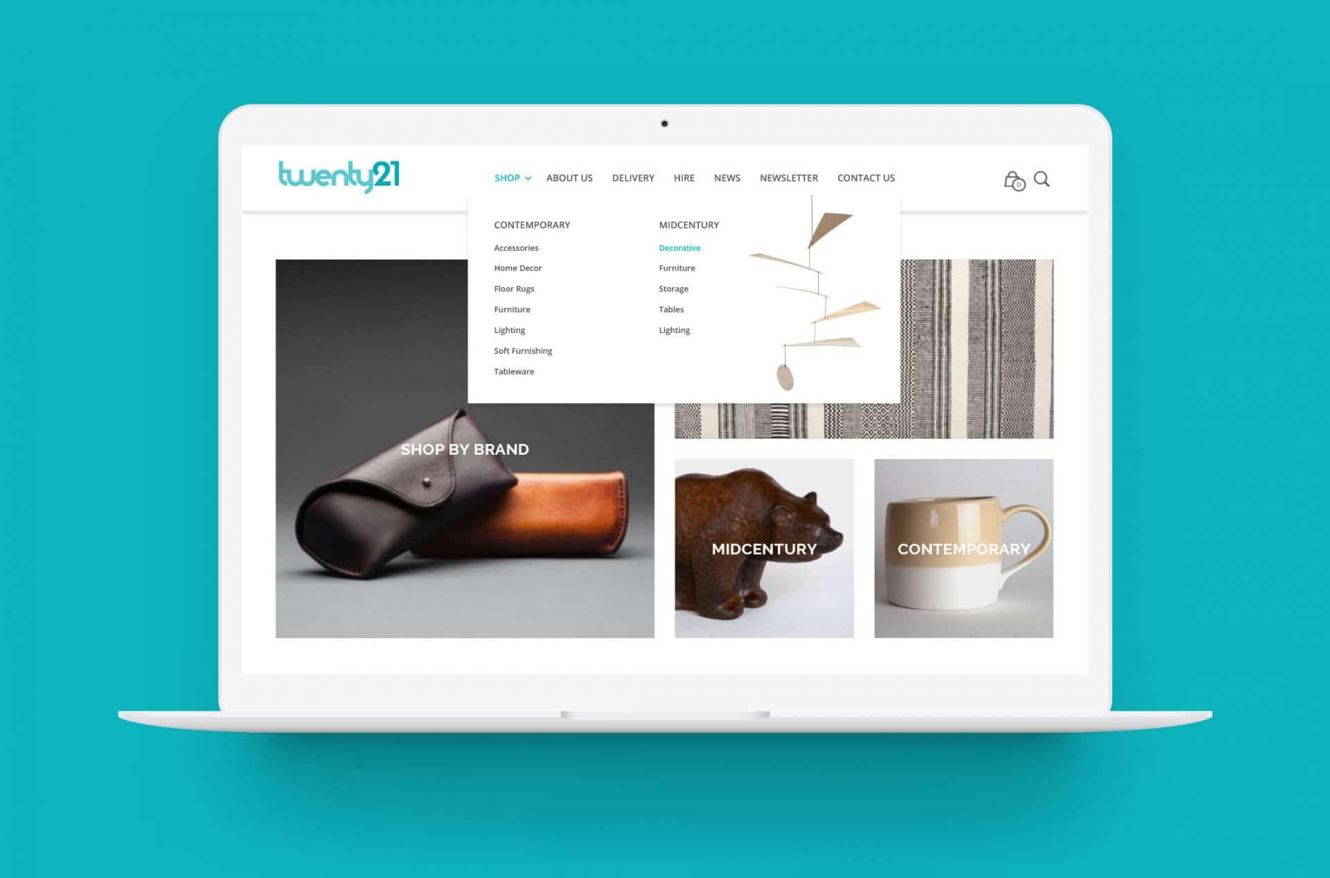 Twenty21 homepage desktop design on Macbook