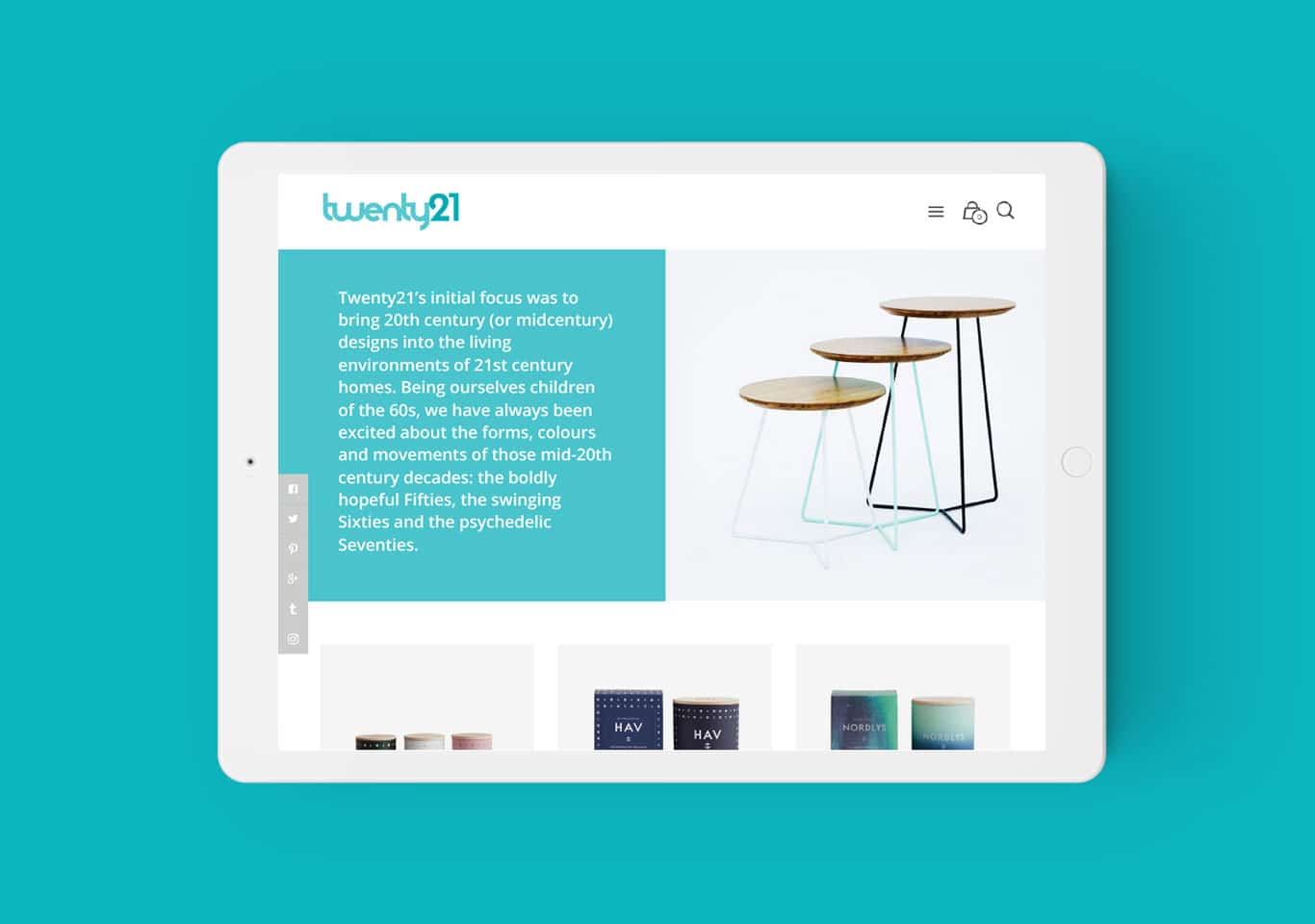Twenty21 responsive website design on iPad in landscape view