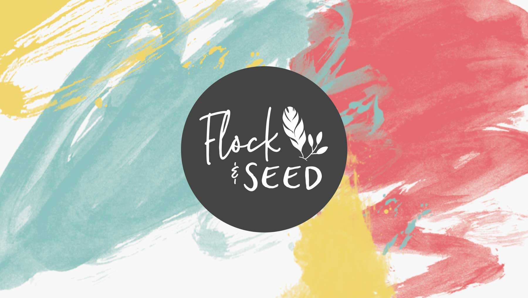 Flock & Seed logo design on turqoise red yellow white watercolor brush background
