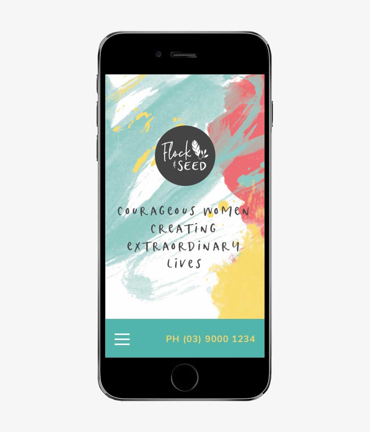 Flock & Seed responsive website design on iPhone in portrait view