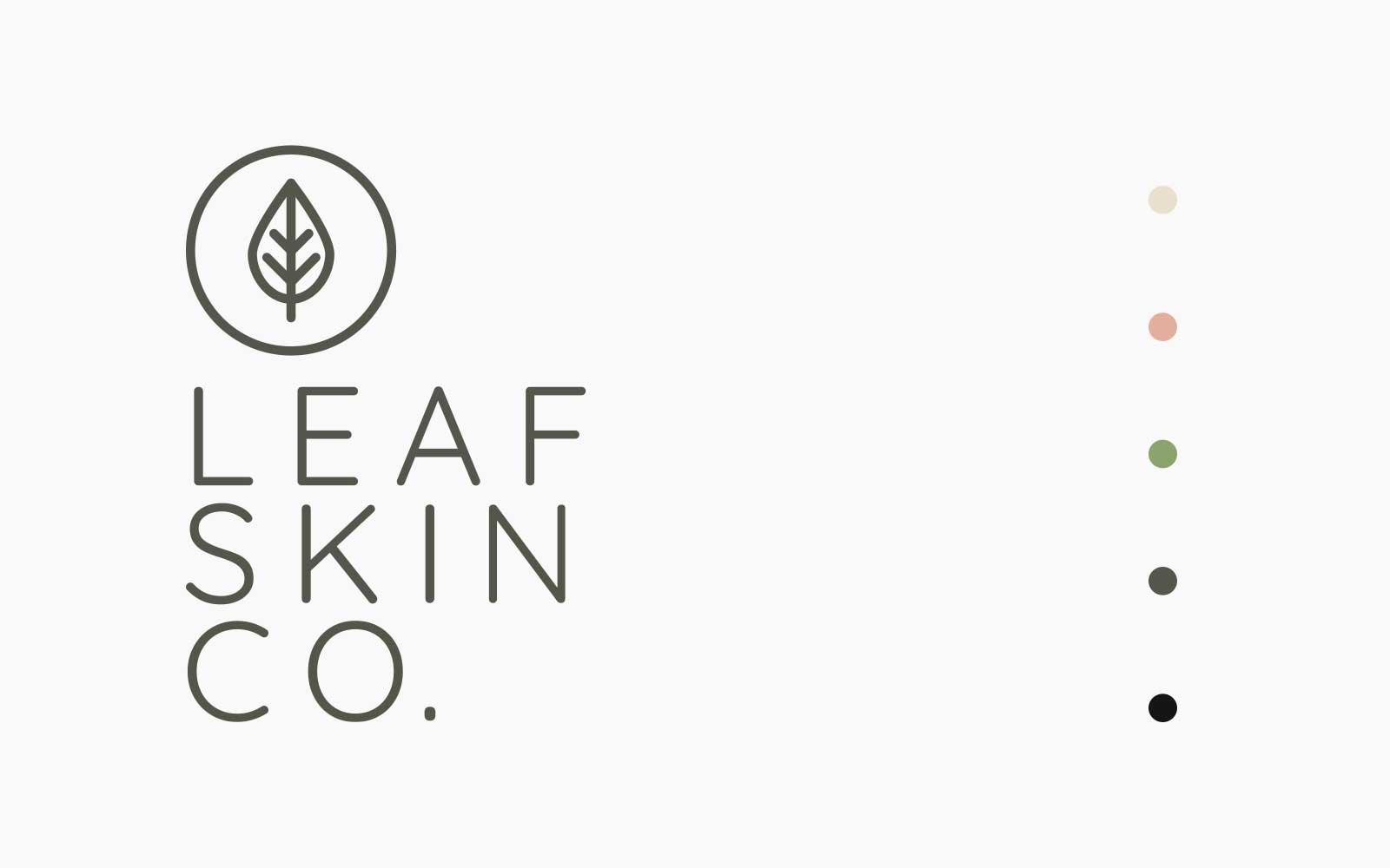 Leaf Skin Co. logo design on white background with colour palette