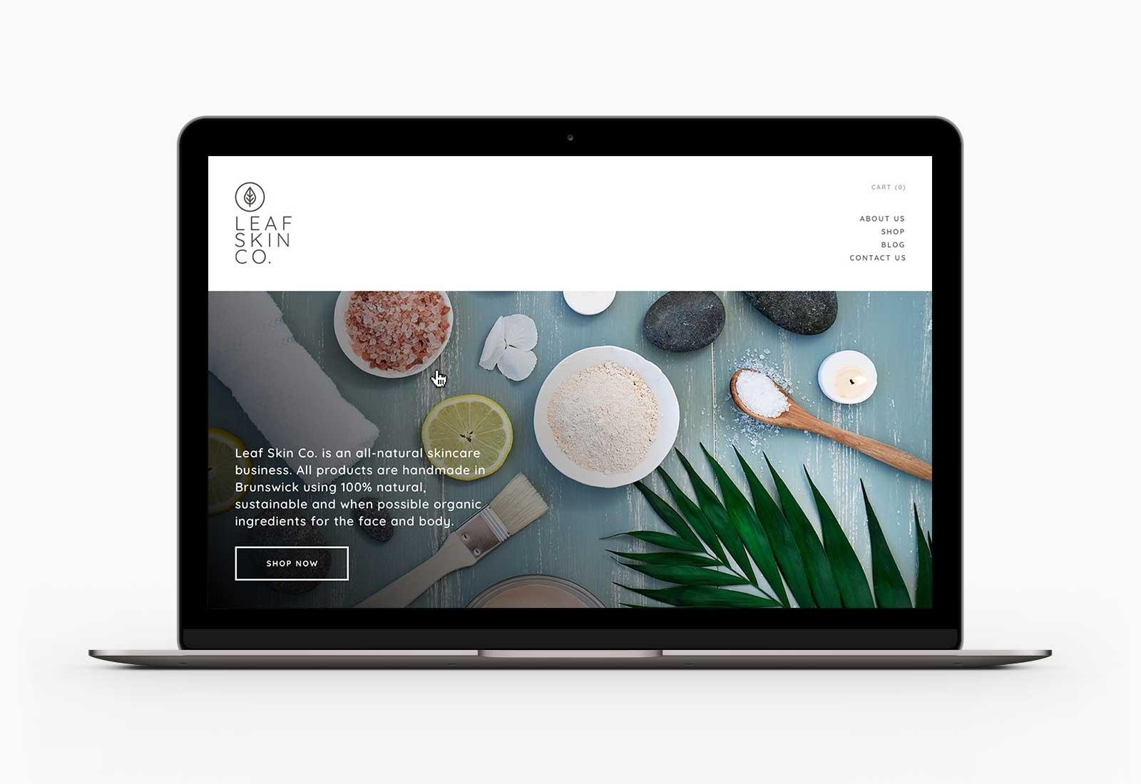 Leaf Skin Co. homepage desktop design on Macbook