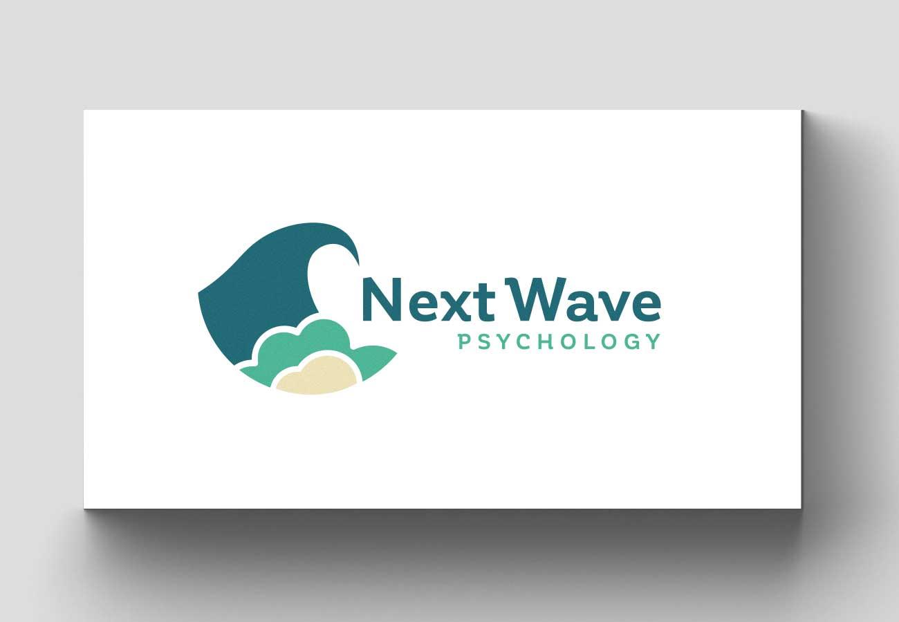 Next Wave Psychology logo design on white background