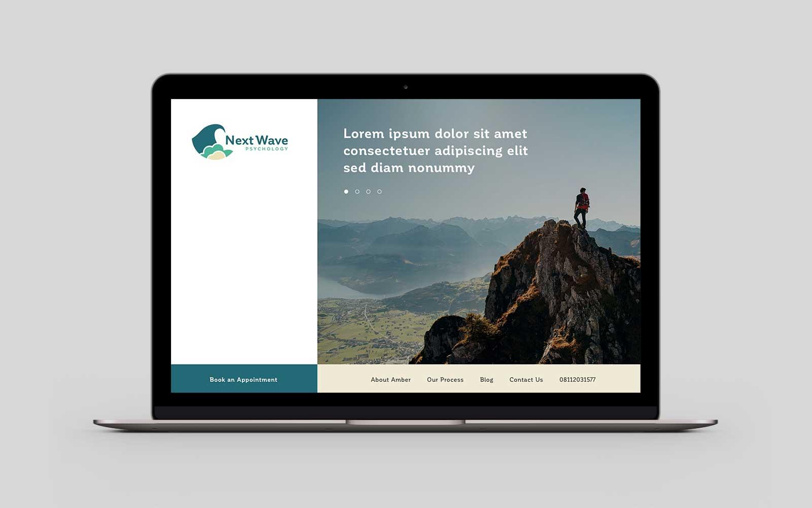 Next Wave Psychology homepage desktop design on Macbook